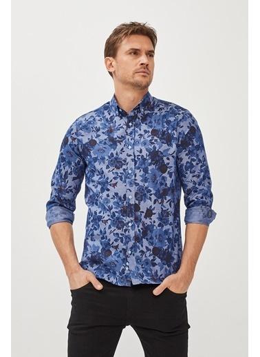 Avva Erkek  Baskılı Gömlek A02Y2318 Mavi